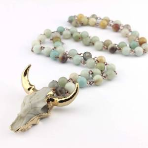 Fashion Bohemian Tribal Jewelry Long Knotted Amazonite Natural Druzy Stones Drop Pendant Stone Necklaces For Women 3