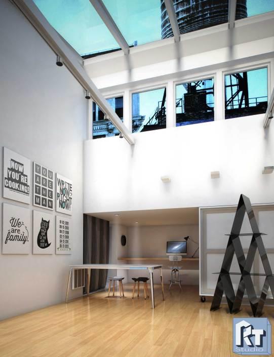 Perspective 3D Intérieur loft NY