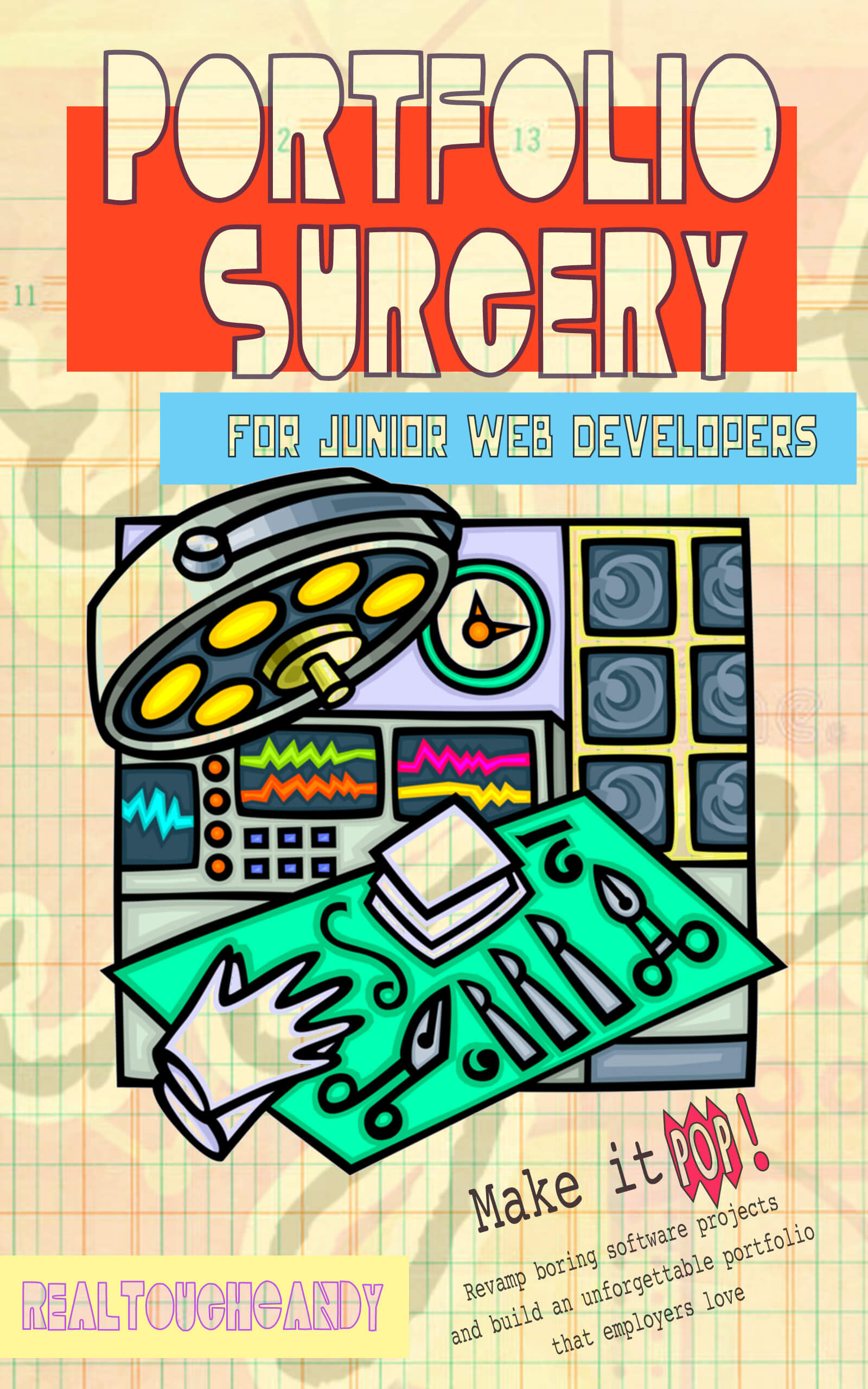 Portfolio Surgery book cover with surgical gloves, light, scalpel and monitors
