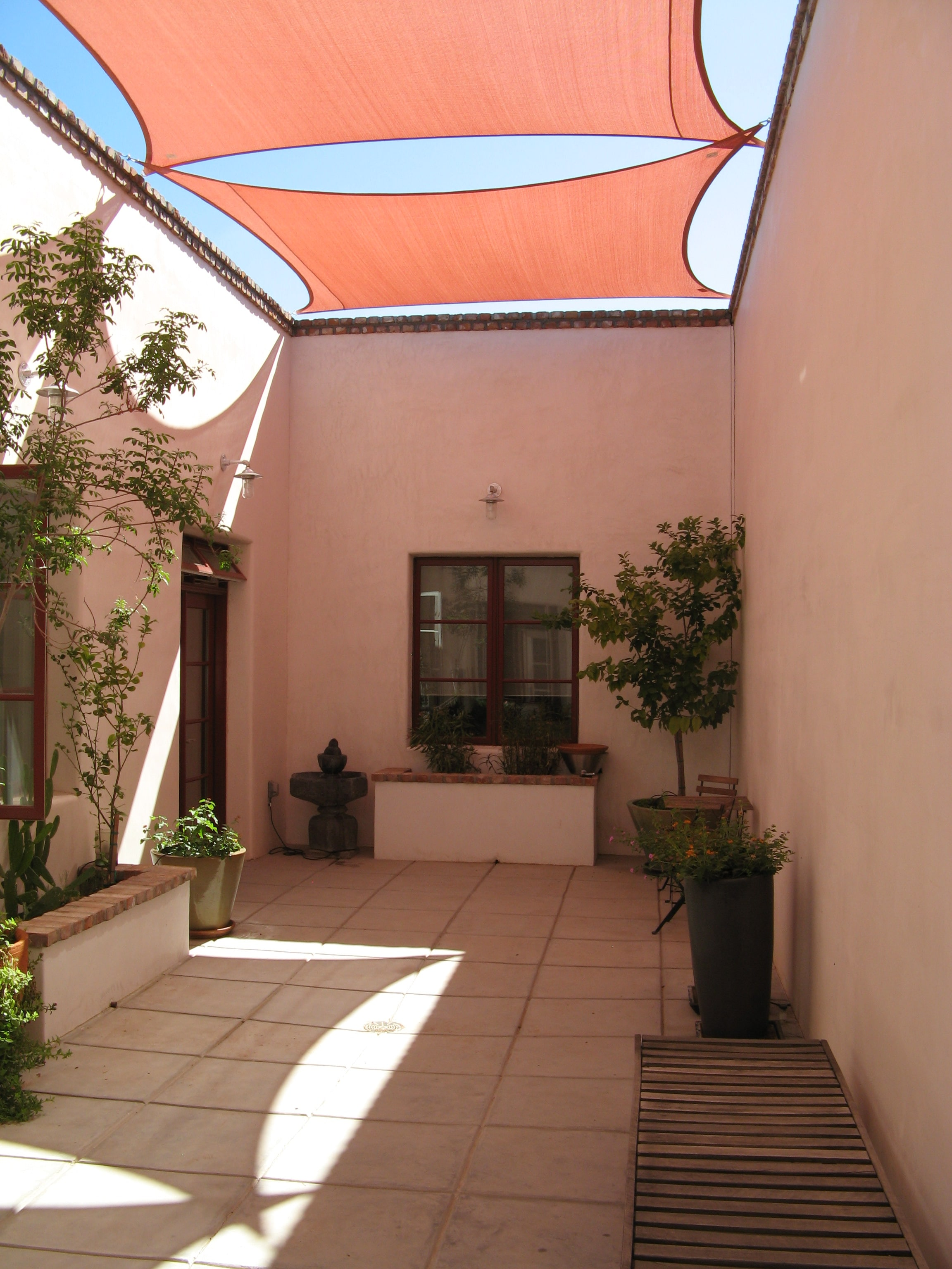 Courtyard with a fabric shade structure, just west of downtown