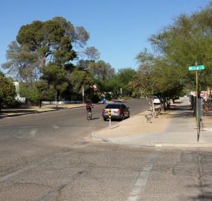 3rd Street bike route goes through Tucson's Sam Hughes neighborhood just east of the University of Arizona campus