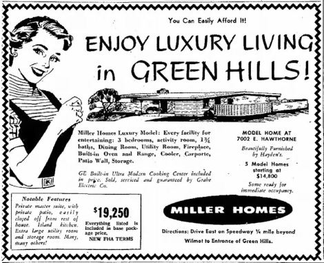 Green Hills advertisement from 1958 - Tucson Mid Century Homes
