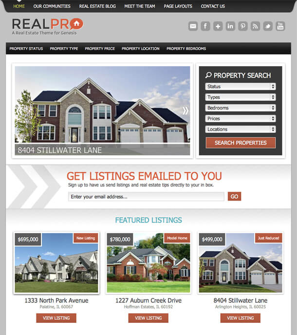 RealPro AgentPress Genesis StudioPress IDX broker platinum WordPress