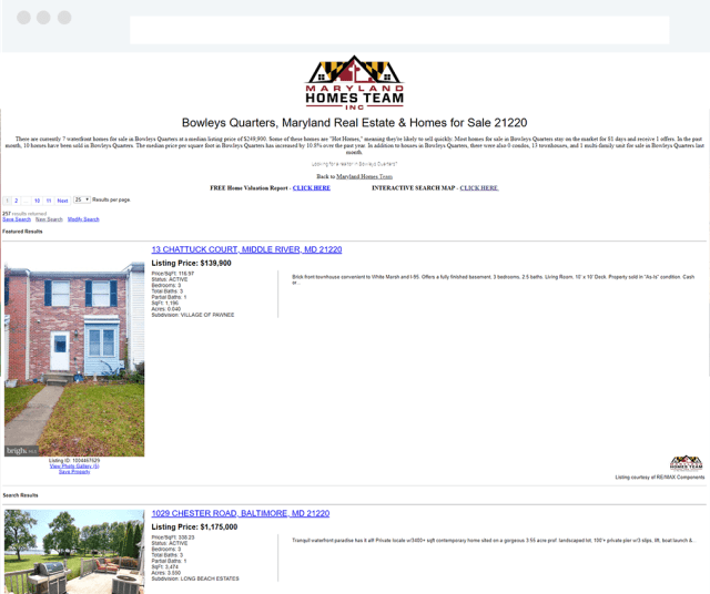 Maryland Homes Team Real Estate Weebly Site - IDX Broker Search page