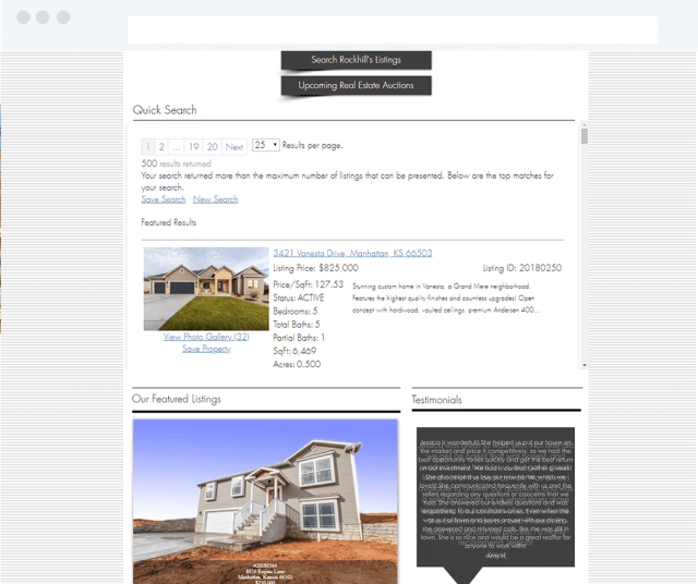RockHill Real Estate Group Wix Real Estate Site with IDX Broker