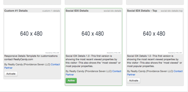 template activation for Social IDX details page for WIX and Squarespace