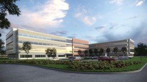 Rendering of 500,000-sf office project to be built in Permian Basin in West Texas by Pontikes.