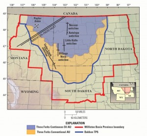 Map of Bakken Shale in North Dakota.