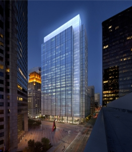 Rendering of Capitol Tower which will be constructed in downtown Houston on site where Houston Club was demolished. (Gensler)