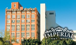 The historic Imperial Sugar building near Houston.