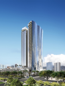 Rendering of Waiea condo tower to be developed in Hawaii.