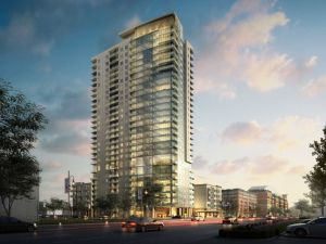 Rendering of 28-story Catalyst apartments to be built by Marquette in downtown Houston. Architecture by Ziegler Cooper.