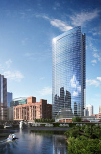 Rendering shows Hines' River Point tower, which is under construction. Morton Salt has leased space in the 52-story project.