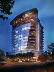 Sims is developing Aurora in the Uptown/Galleria area of Houston. Rendering by Philip Johnson/Alan Ritchie Architects.