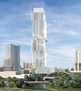 Rendering of 58-story condo project in Austin. A groundbreaking was held Jan. 11, 2016.