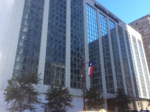 The Houston Chronicle building, 801 Texas Ave. in downtown Houston. Photo credit: Ralph Bivins. Copyright 2016