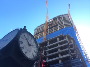 At the corner of Main and Texas Ave., Hines is constructing a 48-story tower. Copyright photo by Ralph Bivins of Realty News Report.