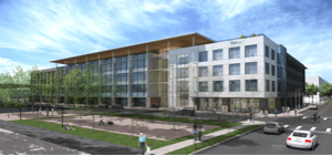 Rendering of Texas Mutual headquarters building in Austin, designed by Studio8 Architects.