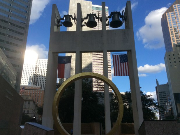 The Bell Tower and the Ring of Thanks at Thanksgiving Square in Dallas. The square, designed by Philip Johnson, was dedicated in 1976. Photo by Ralph Bivins. Copyright 2016.