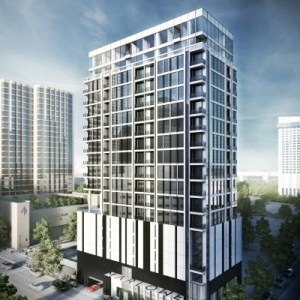 Rendering of Marlowe condominium project under construction  in downtown Houston.