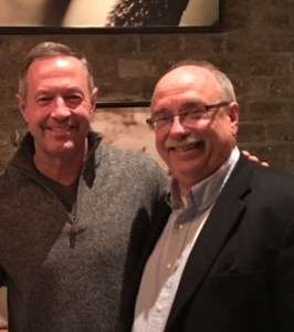 Former Md. Gov. Martin O'Malley, who ran for president in 2016, and Realty News Report Editor Ralph Bivins at the Sustainability Symposium in Orlando.