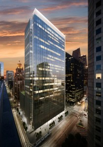 Rendering of the Capitol Tower under construction in downtown Houston. Gensler designed the project.