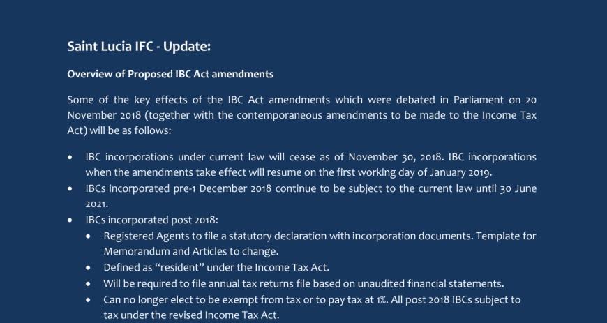 St Lucia IBC Amendment 2018 - 2021