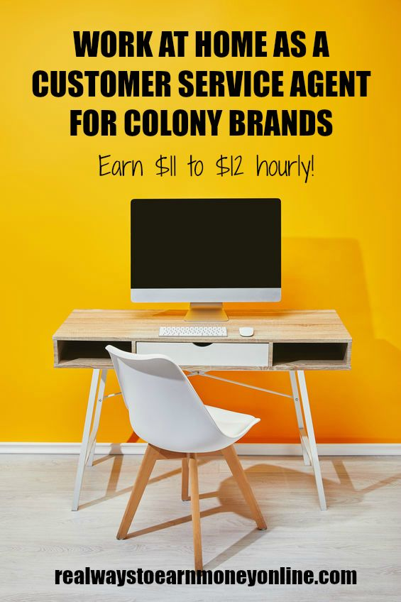 Work at home as a phone agent for Colony Brands, earning $11 to $12 hourly. #workathome #workfromhome