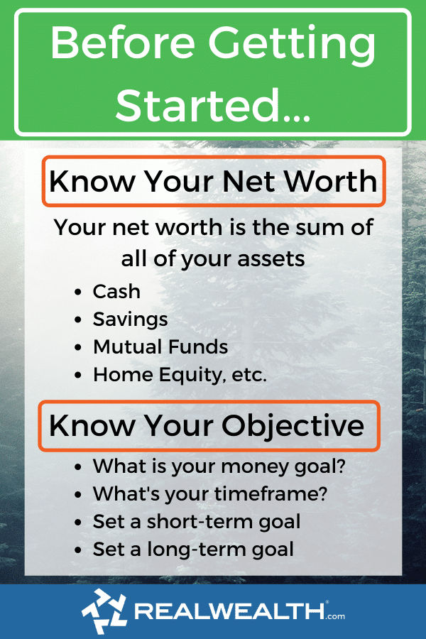 Infographic Highlighting - Before Getting Started Know Your Net Worth & Objective