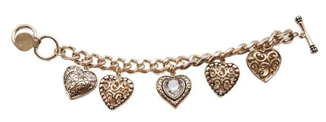 Gold Plated Heart Charm Bracelet