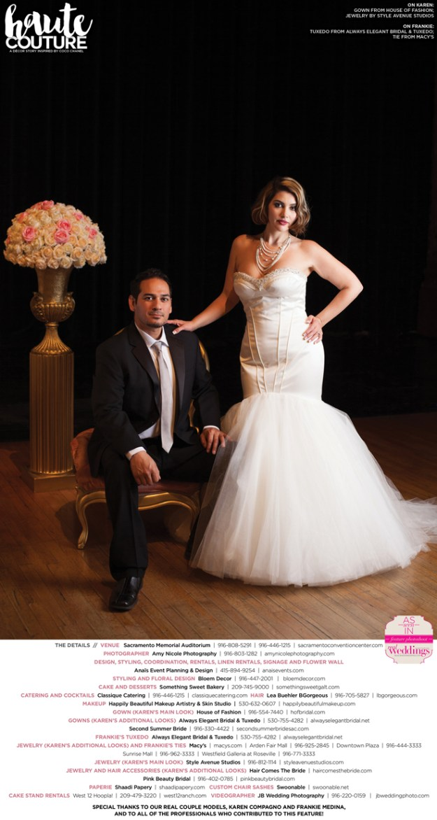 Sacramento Wedding Inspiration: Haute Couture {Get To Know the Real Couple Models} from the Summer/Fall 2016 issue of Real Weddings Magazine