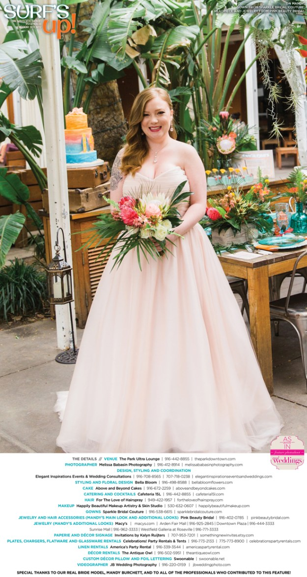 Sacramento Wedding Inspiration: Surf's Up {Get to Know Our Real Bride Model} from the Summer/Fall 2016 issue of Real Weddings Magazine