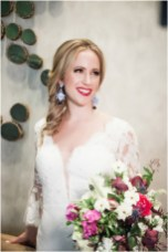 Gown from The Clothes Mine; Earrings from Macy's; Bouquet by Visual Impact Design; Hair and makeup by All Dolled Up Hair and Makeup Artistry; Photo by 2 Girls 20 Cameras, on location at Kimpton Sawyer Hotel