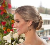 Gown from The Clothes Mine; Headpiece by Hair Comes the Bride; Earrings from Macy's; Bracelet by Sorrelli Jewelry; Bouquet by Relles Florist; Hair by Lisa Harter Hair and Makeup Artist; Makeup by Happily Beautiful Makeup Artistry & Skin Studio. Photography by Farrell Photography on location at Hotel Sutter.