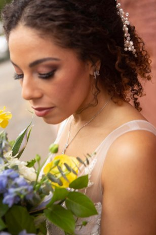 Gown from The Clothes Mine; Headpiece by Luxurious Bridal; Jewelry by Mariell; Bouquet by Ames Haus Design; Hair and makeup by All Dolled Up Hair and Makeup Artistry; Photography by Farrell Photography on location at Hotel Sutter.