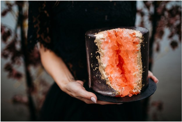 Black Geode Wedding Cake-Moody Styled Shoot Elopement-Sacramento Tahoe Wedding Photography