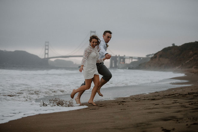 Moody Beachy Windy San Francisco Elopement at Baker Beach