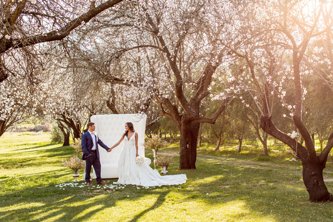 Romantic Sunset Almond Blossom Orchard Wedding Taber Ranch Capture Create Studios
