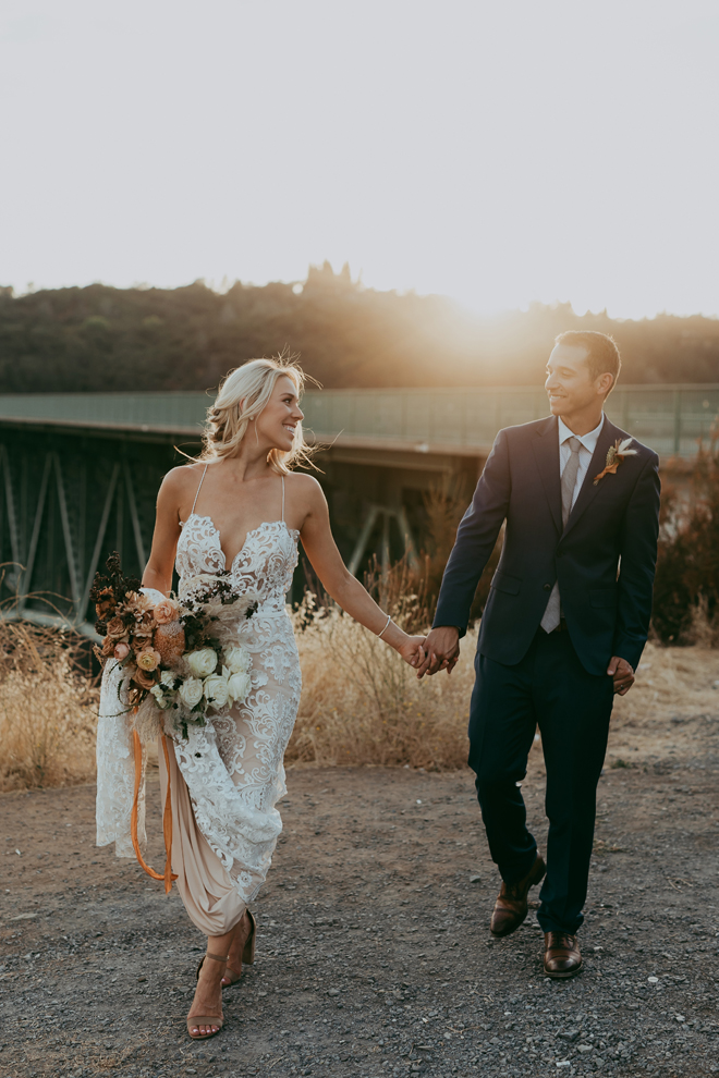 Dreamy Golden Hour Foresthill Bridge Nature-Inspired Boho Details Elopement Adventure Styled Shoot