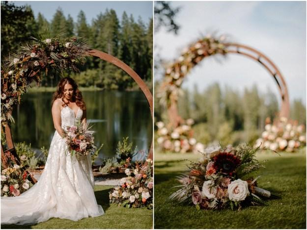 Fall Inspired Minimony MIcro Wedding Styled Shoot | Lake at Apple Hill Venue | Strelitzia Flower Company Bridal Bouquet