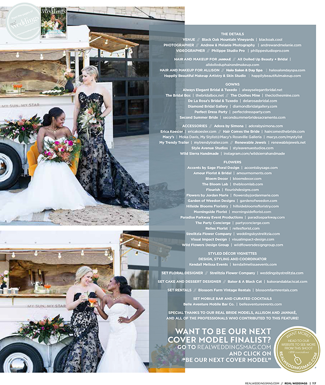 Andrew & Melanie Photography Cool Mountain High Cover Model Photo Shoot in Real Weddings Magazine Sacramento