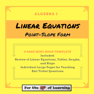 an 8 page mini book template to use with interactive journals -- point-slope form of linear equations