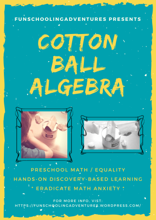 Math for young kids -- learning about basic Algebra using cotton balls and a DIY balance scale