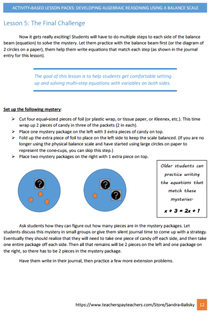 preview of activity based lesson pack on algebraic reasoning for Pre-K - 6th grade
