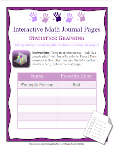 interactive math journal page for preschool, kindergarten, and first grade -- taking surveys and making bar graphs