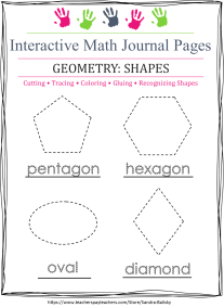 free printable math journal page for preschoolers to practice cutting out and learning about shapes