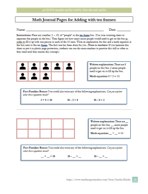 preview page for a 28 page activity-based lesson pack unit for Pre-K - 2nd grade math -- developing number sense and mathematical reasoning using ten frames