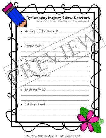Storytelling prompts and templates with examples | Completely Imaginary Science Experiment | Set includes 4 free printable story forms to help encourage young children develop creative thinking skills
