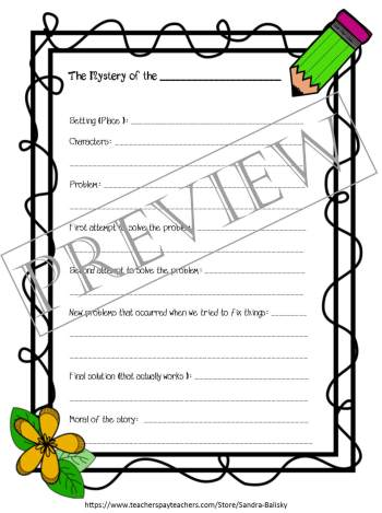 Free printable set of creative writing story templates for kids Pre-K - 2nd grade (and up!). (page one -- a Mystery story)