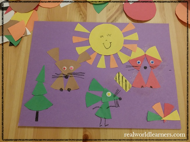 Paper crafts with kids | Cut up circles into fraction pieces and use them to make geometric designs or creative creatures. | mom's designs